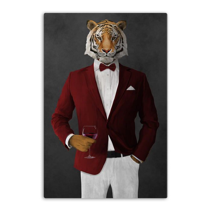 Tiger drinking red wine wearing red and white suit canvas wall art