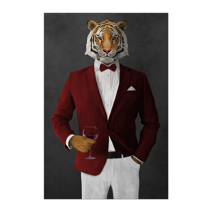 Tiger drinking red wine wearing red and white suit large wall art print