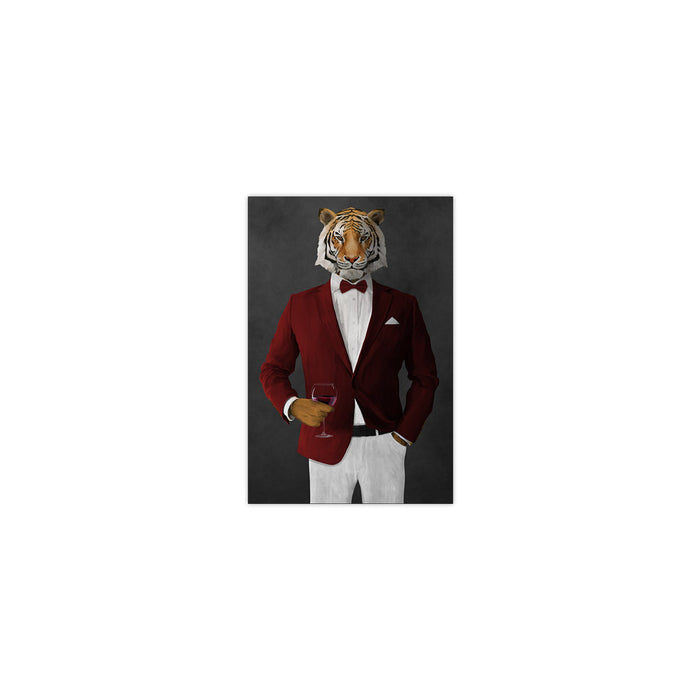 Tiger drinking red wine wearing red and white suit small wall art print