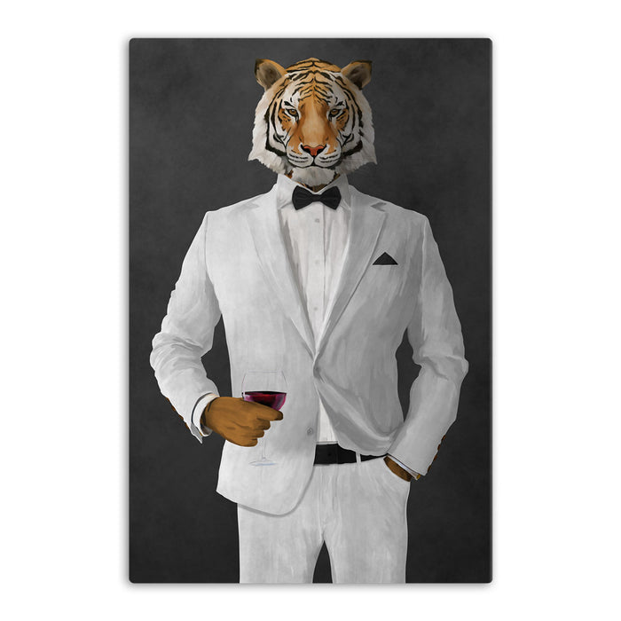 Tiger drinking red wine wearing white suit canvas wall art