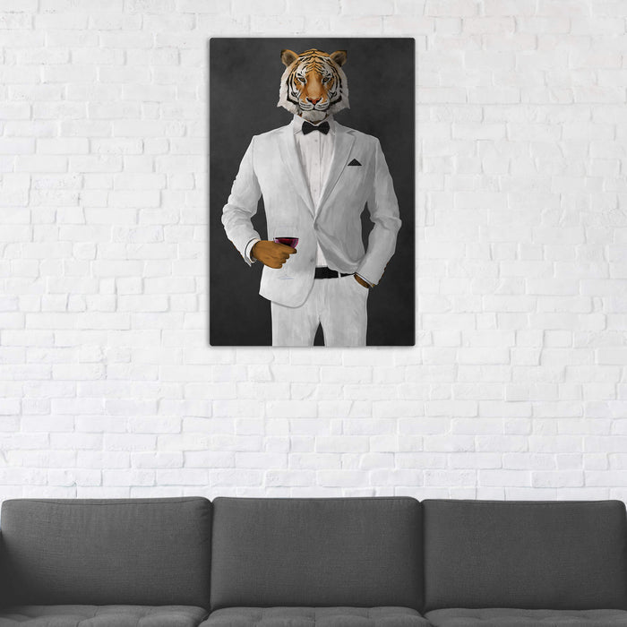 Tiger Drinking Red Wine Wall Art - White Suit