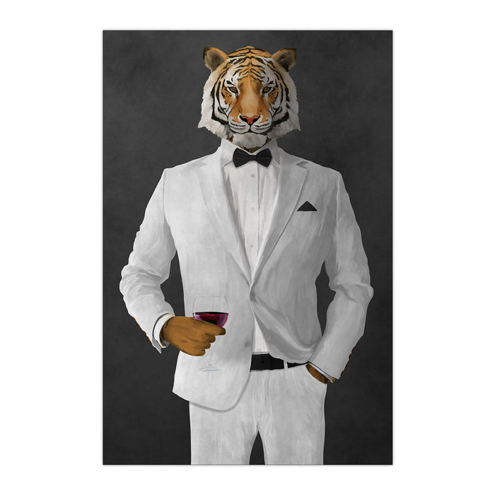 Tiger drinking red wine wearing white suit large wall art print