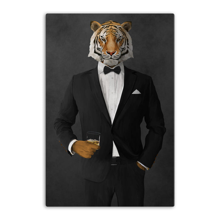 Tiger drinking whiskey wearing black suit canvas wall art