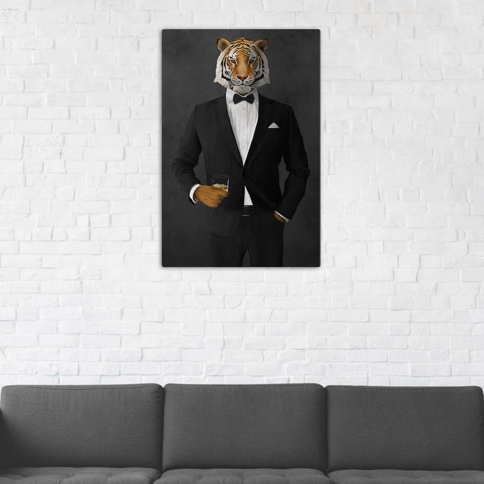 Tiger Drinking Whiskey Wall Art - Black Suit