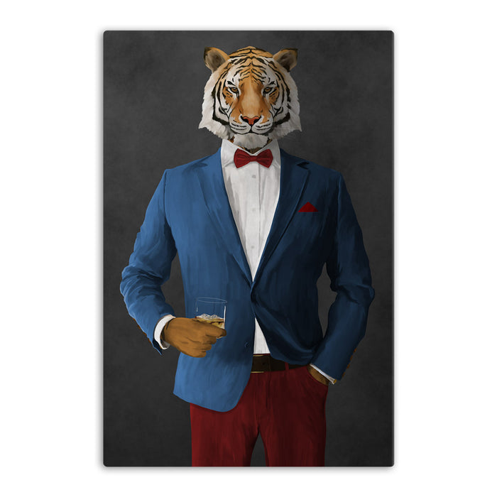 Tiger drinking whiskey wearing blue and red suit canvas wall art
