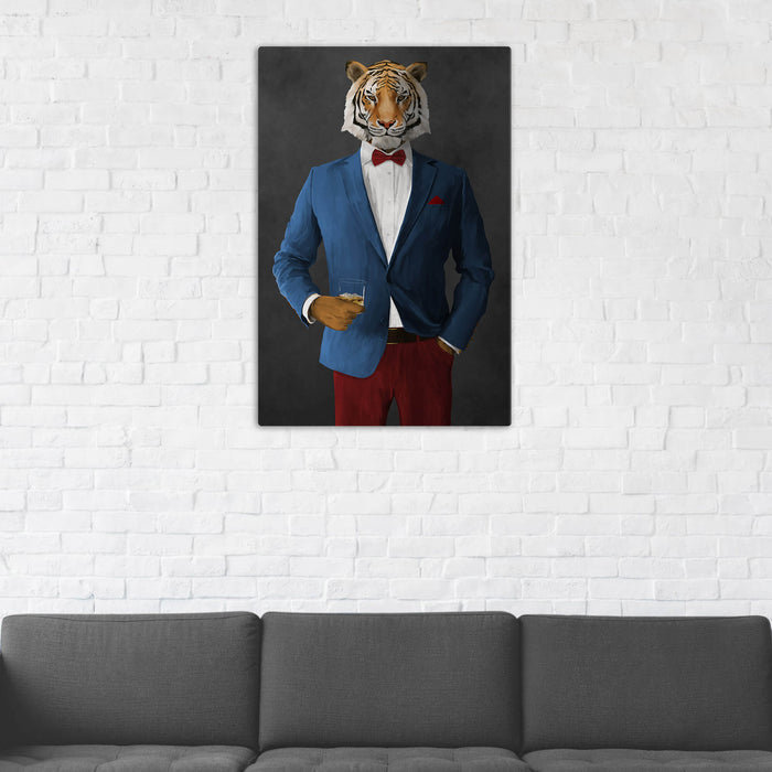 Tiger Drinking Whiskey Wall Art - Blue and Red Suit