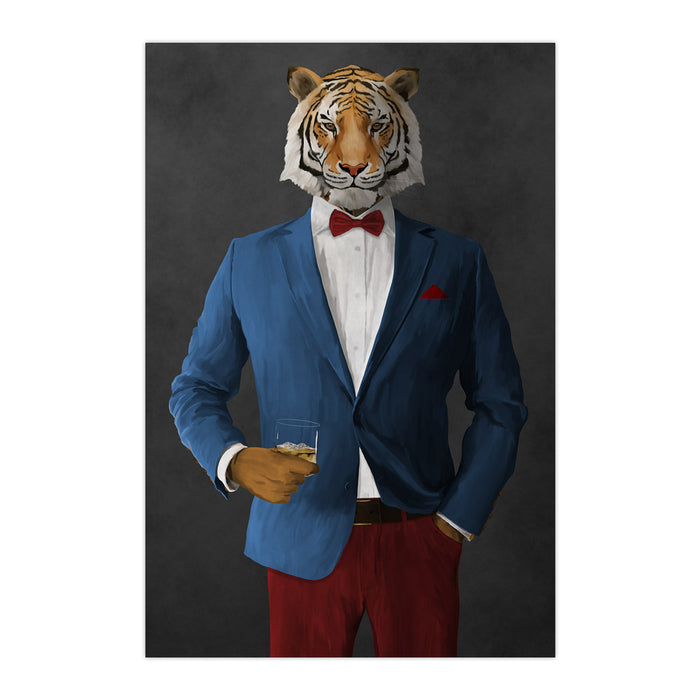 Tiger drinking whiskey wearing blue and red suit large wall art print