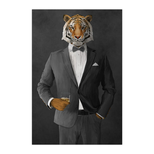Tiger drinking whiskey wearing gray suit large wall art print