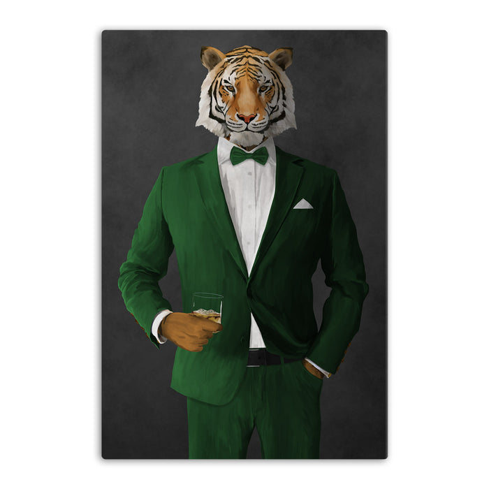 Tiger drinking whiskey wearing green suit canvas wall art