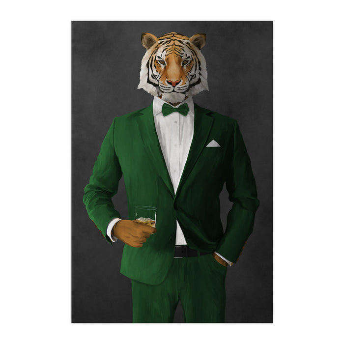 Tiger drinking whiskey wearing green suit large wall art print