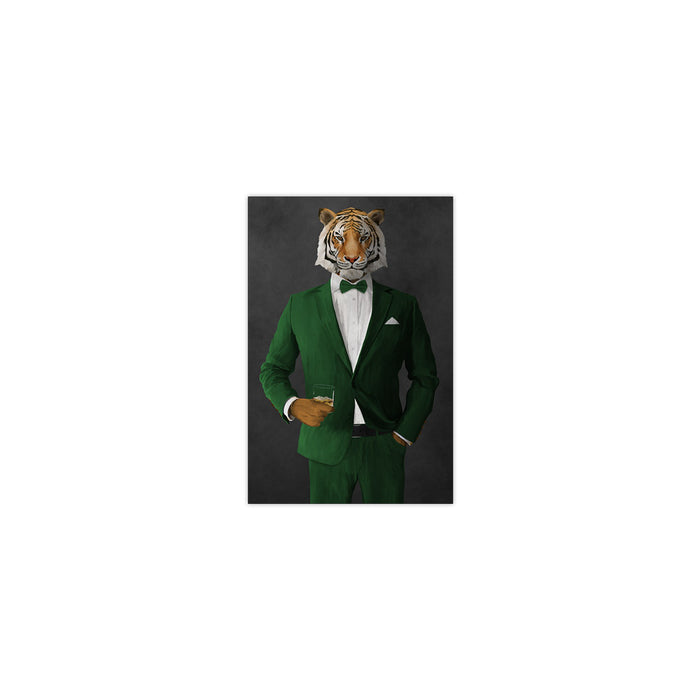 Tiger drinking whiskey wearing green suit small wall art print