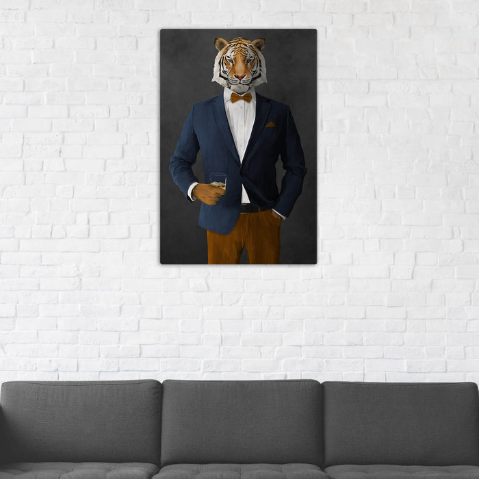 Tiger Drinking Whiskey Wall Art - Navy and Orange Suit