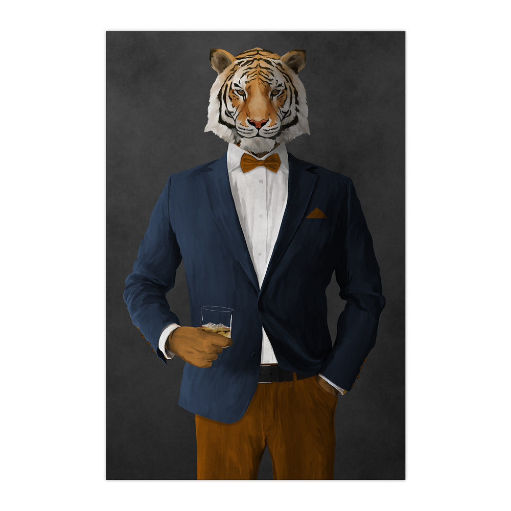 Tiger drinking whiskey wearing navy and orange suit large wall art print