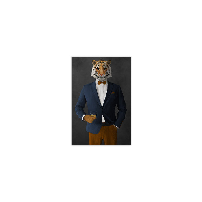 Tiger drinking whiskey wearing navy and orange suit small wall art print