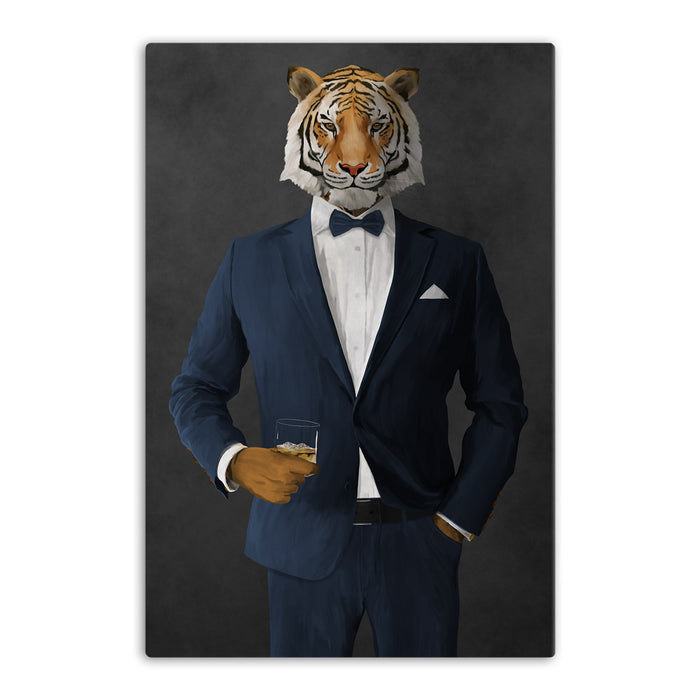 Tiger drinking whiskey wearing navy suit canvas wall art
