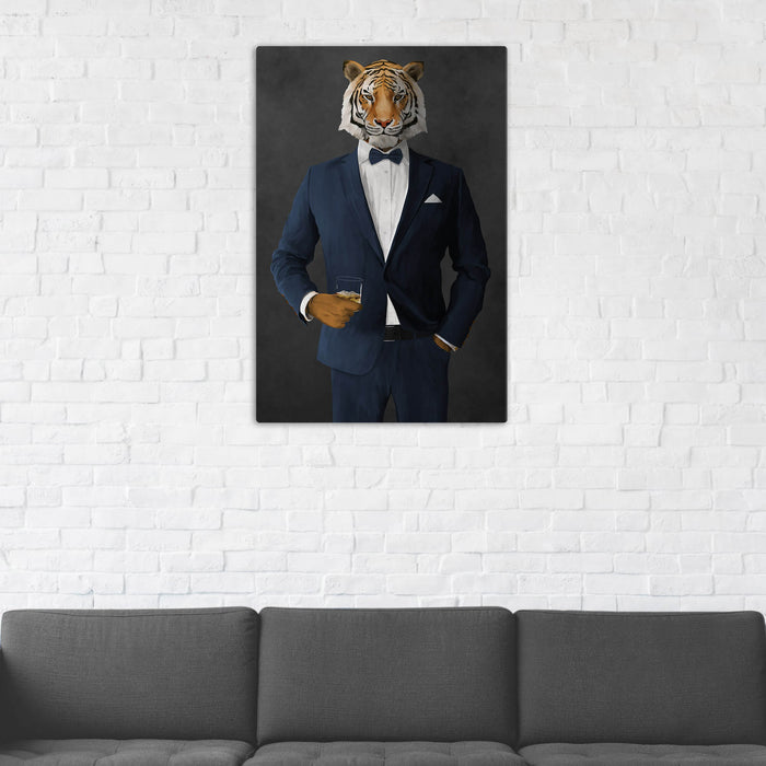 Tiger Drinking Whiskey Wall Art - Navy Suit