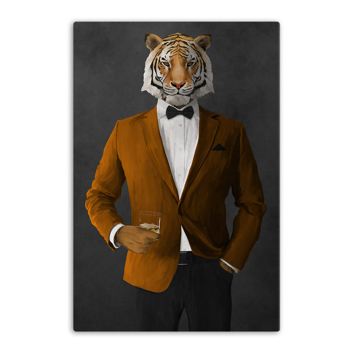 Tiger drinking whiskey wearing orange and black suit canvas wall art