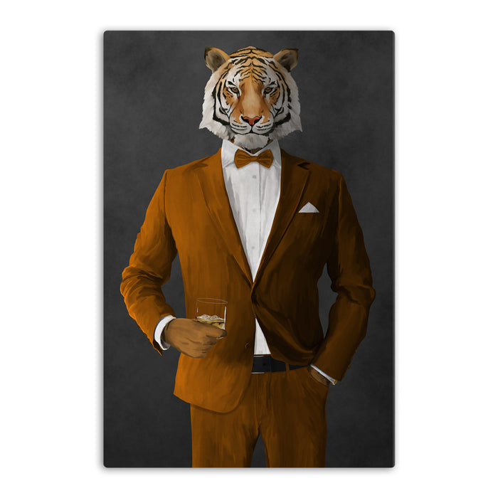 Tiger drinking whiskey wearing orange suit canvas wall art