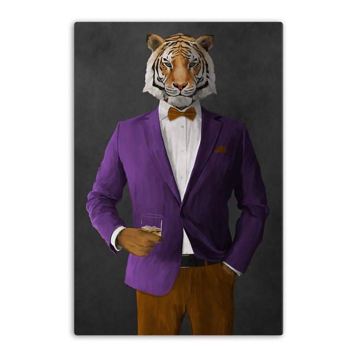 Tiger drinking whiskey wearing purple and orange suit canvas wall art