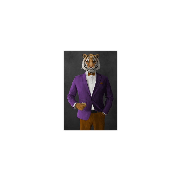 Tiger drinking whiskey wearing purple and orange suit small wall art print