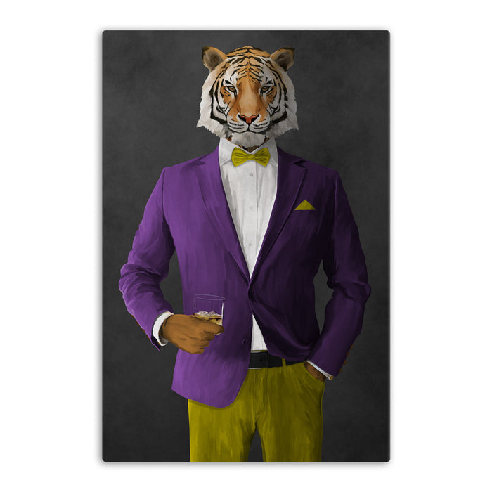 Tiger drinking whiskey wearing purple and yellow suit canvas wall art