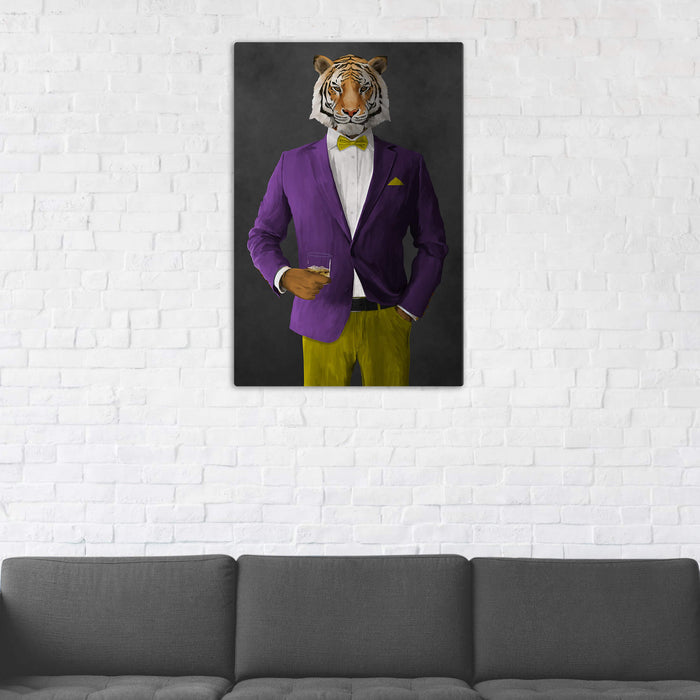 Tiger Drinking Whiskey Wall Art - Purple and Yellow Suit