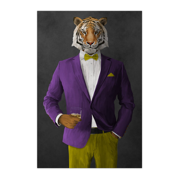 Tiger drinking whiskey wearing purple and yellow suit large wall art print