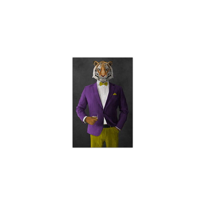 Tiger drinking whiskey wearing purple and yellow suit small wall art print