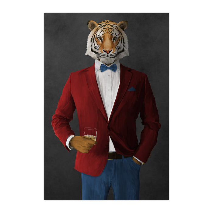 Tiger drinking whiskey wearing red and blue suit large wall art print