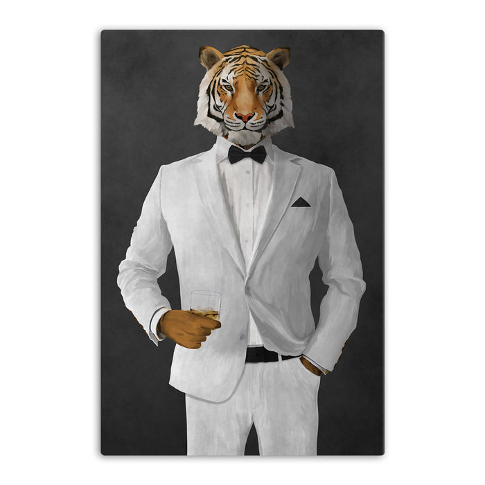 Tiger drinking whiskey wearing white suit canvas wall art