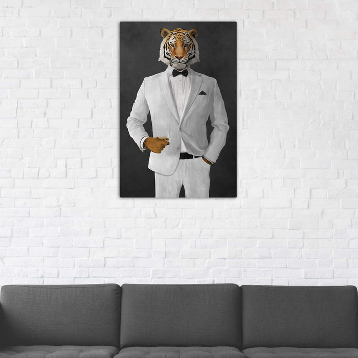 Tiger Drinking Whiskey Wall Art - White Suit