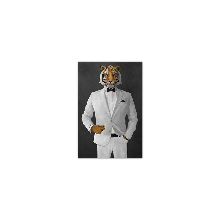Tiger drinking whiskey wearing white suit small wall art print