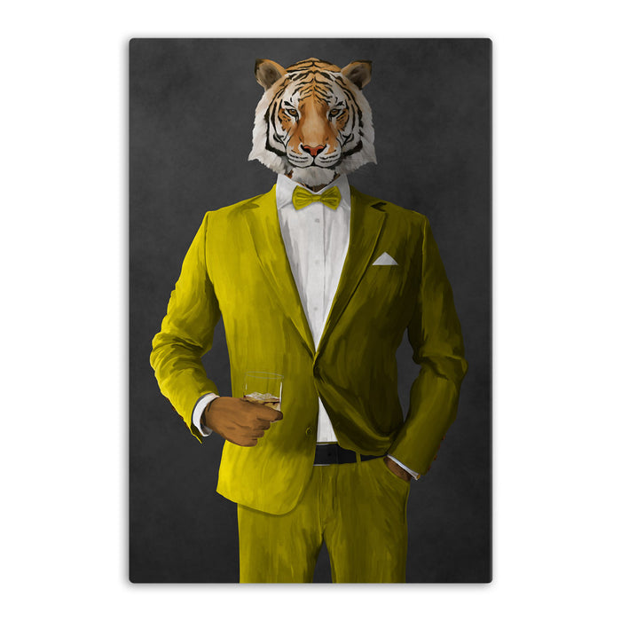 Tiger drinking whiskey wearing yellow suit canvas wall art