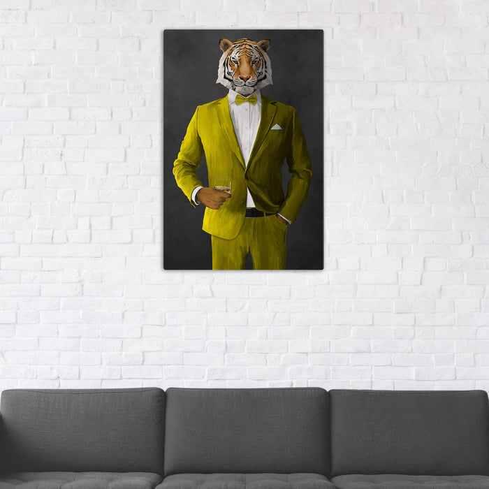 Tiger Drinking Whiskey Wall Art - Yellow Suit