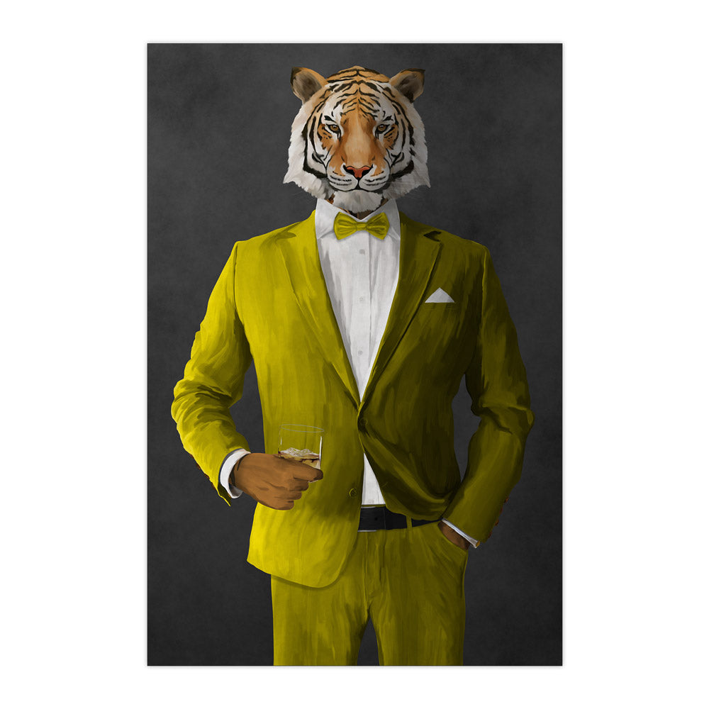 Tiger drinking whiskey wearing yellow suit large wall art print