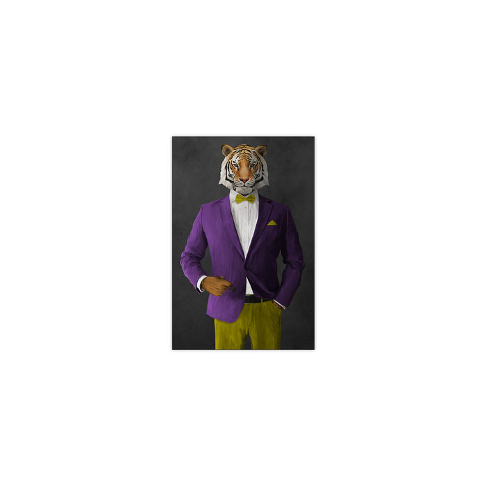 Tiger smoking cigar wearing purple and yellow suit small wall art print
