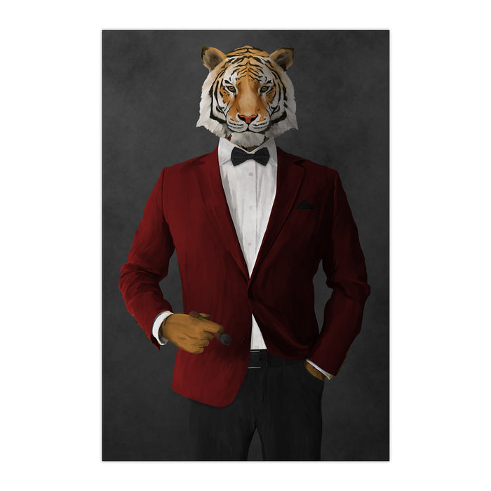 Tiger smoking cigar wearing red and black suit large wall art print