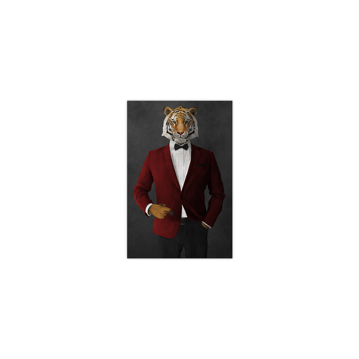 Tiger smoking cigar wearing red and black suit small wall art print
