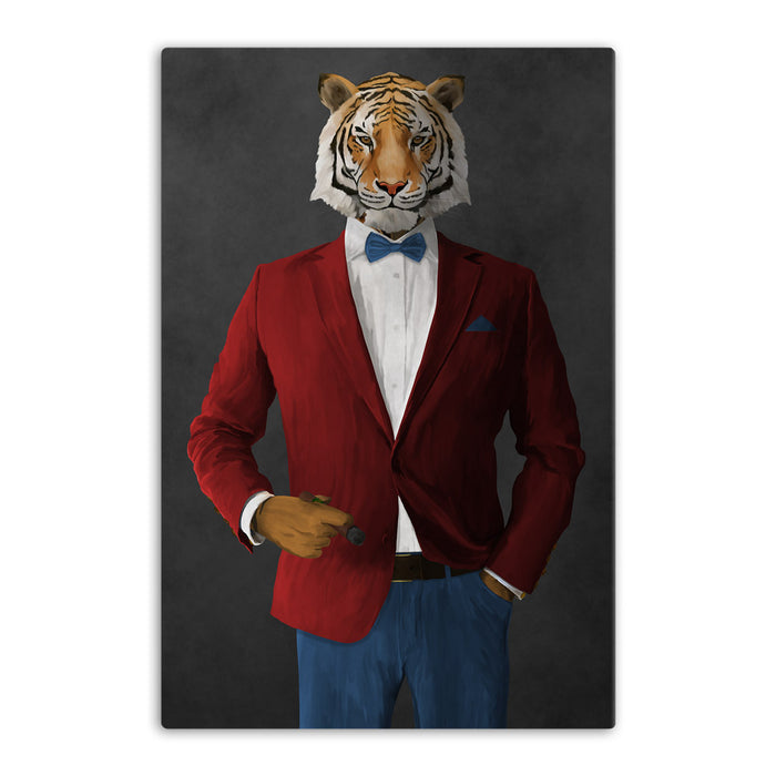 Tiger smoking cigar wearing red and blue suit canvas wall art