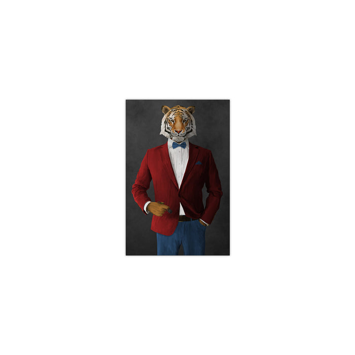 Tiger smoking cigar wearing red and blue suit small wall art print