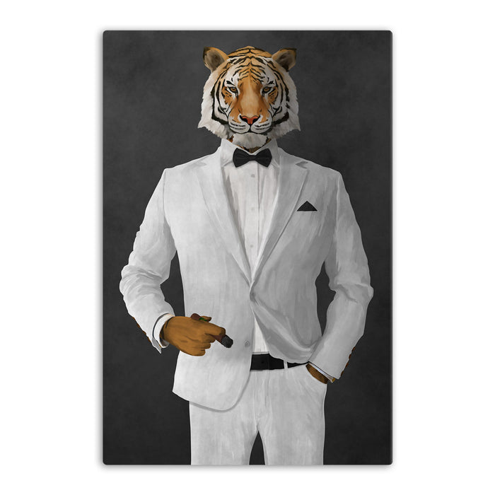 Tiger smoking cigar wearing white suit canvas wall art