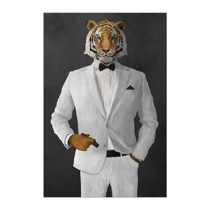 Tiger smoking cigar wearing white suit large wall art print