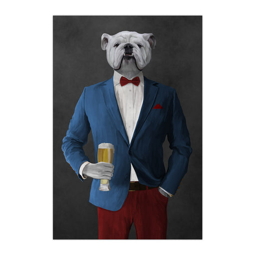 White Bulldog Drinking Beer Wall Art - Blue and Red Suit