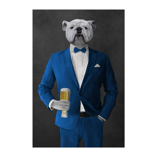 White Bulldog Drinking Beer Wall Art - Blue Suit