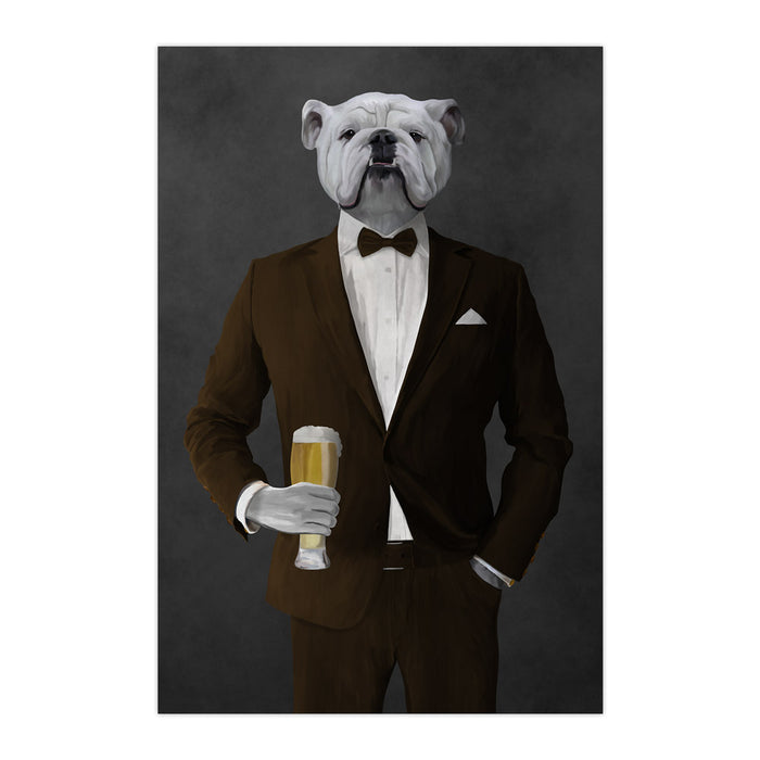 White Bulldog Drinking Beer Wall Art - Brown Suit