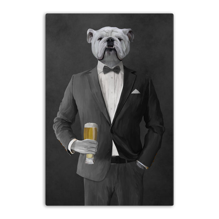 White Bulldog Drinking Beer Wall Art - Gray Suit