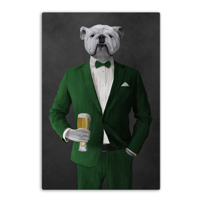 White Bulldog Drinking Beer Wall Art - Green Suit
