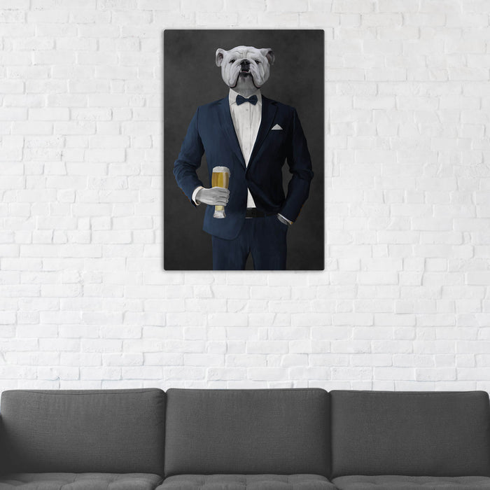 White Bulldog Drinking Beer Wall Art - Navy Suit