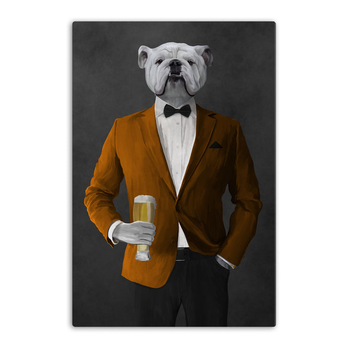 White Bulldog Drinking Beer Wall Art - Orange and Black Suit