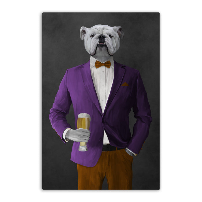White Bulldog Drinking Beer Wall Art - Purple and Orange Suit